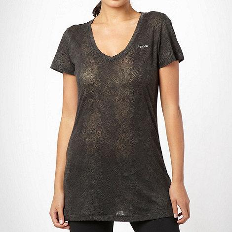 Reebok - Black +PlayDry+ patterned t-shirt