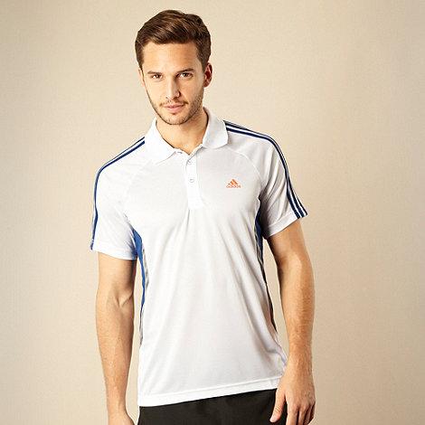 adidas - White textured polo shirt