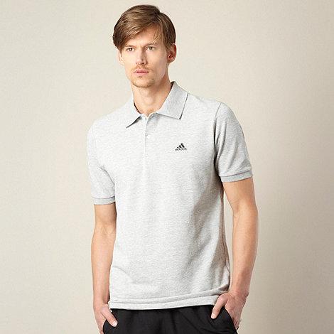 adidas - Grey logo pique polo shirt