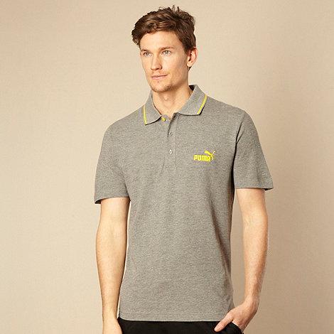 Puma - Grey tip striped polo shirt