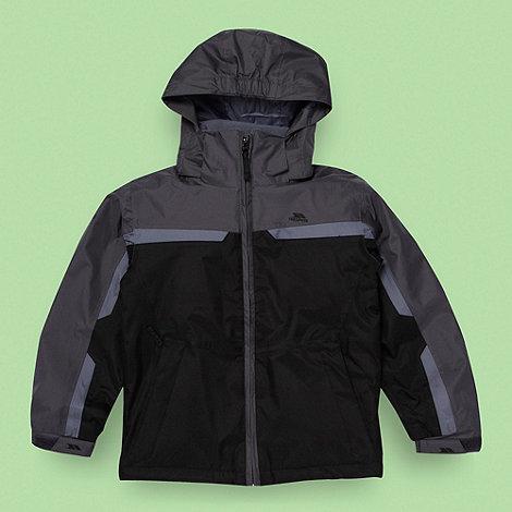 Trespass - Boy+s black waterproof rain jacket