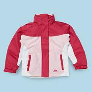 Girl's pink colour blocked waterproof jacket