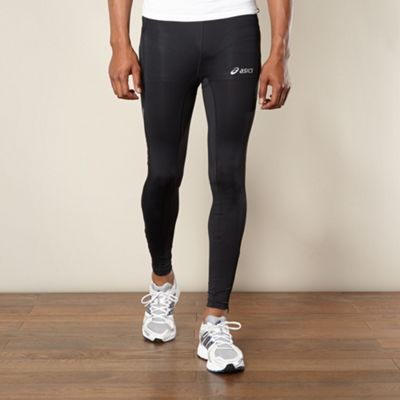 Black reflective panel fitness leggings