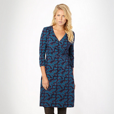 Weird Fish - Blue floral wrap dress