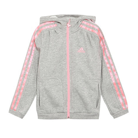 adidas - Girl+s grey zip through hoodie