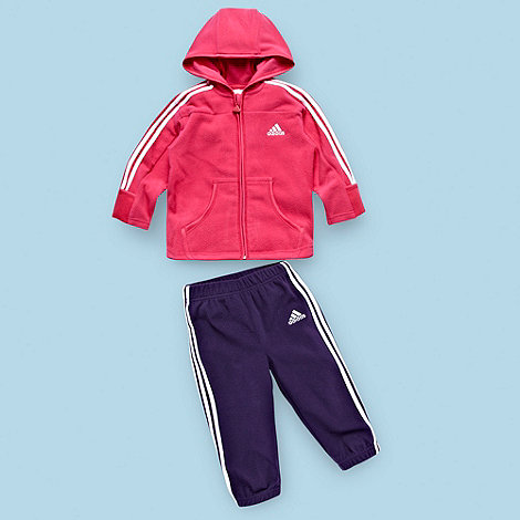 adidas - Baby+s pink zip through fleece hoodie