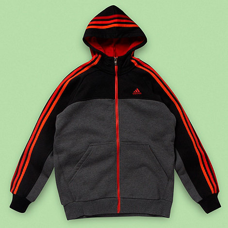 adidas - Boy+s grey colour blocked hoodie