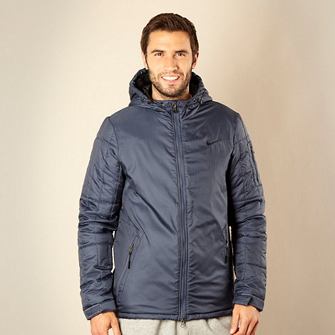 Nike - Navy hooded quilted jacket