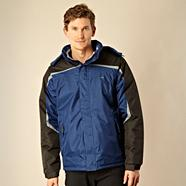 Navy hooded technical performance jacket