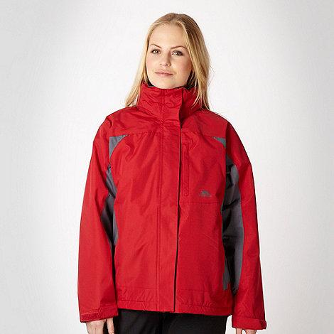 Trespass - Red colour blocked technical rain jacket