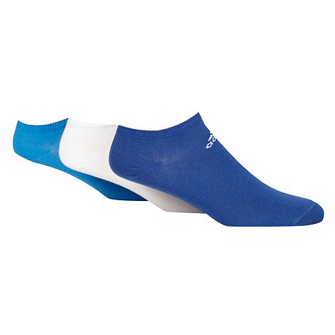 adidas - Pack of three white, blue and dark blue trainer socks
