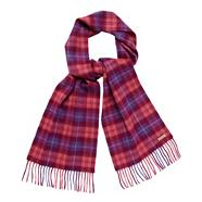Pink checked knit scarf