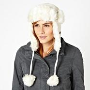 Cream corduroy and faux fur aviator hat