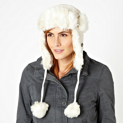 Animal - Cream corduroy and faux fur aviator hat