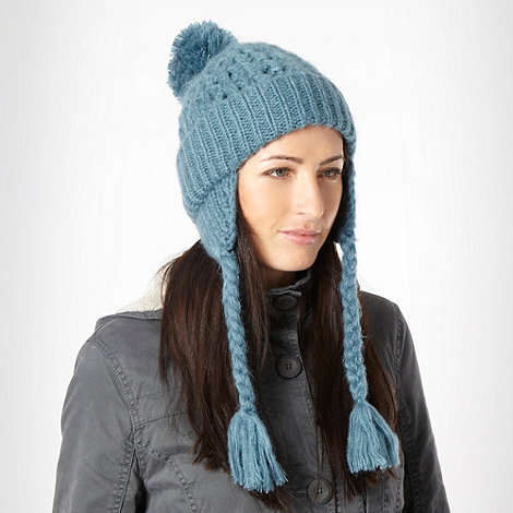 Animal - Turquoise plaited sided beanie hat