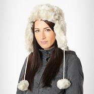Cream faux fur trapper hat