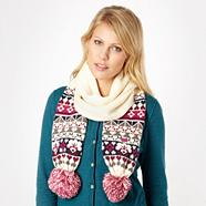 Cream fairisle border knit scarf