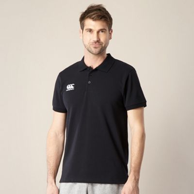 Black logo pique polo shirt