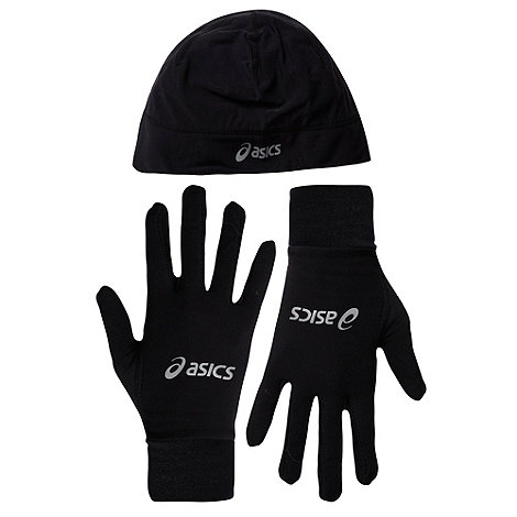 ASICS - Black running beanie and gloves set