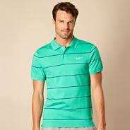 Nike green striped jersey polo shirt