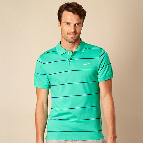 Nike - Green striped jersey polo shirt