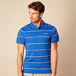 Nike - Blue striped jersey polo shirt