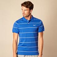 Nike blue striped jersey polo shirt
