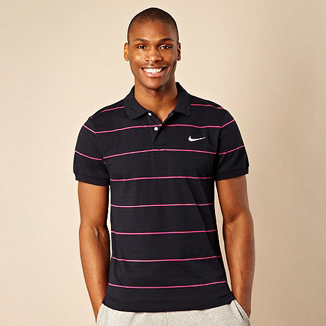 Nike - Navy striped polo shirt