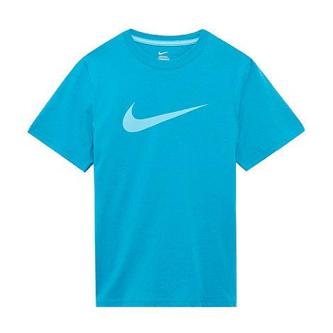 Nike - Boy+s turquoise textured logo printed t-shirt