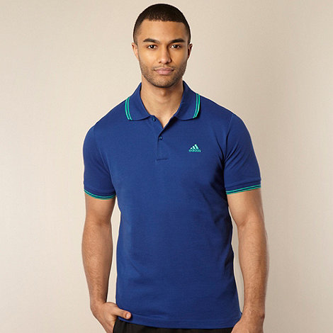 adidas - Blue double tip striped polo shirt