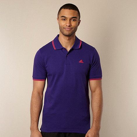 adidas - Purple double tip striped polo shirt