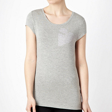 Elle Sport - Grey textured logo heart motif t-shirt