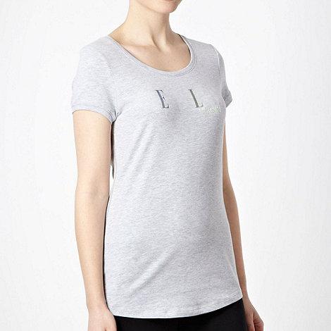 Elle Sport - Grey textured logo motif t-shirt
