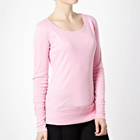 Elle Sport - Pink embroidered side long sleeved top