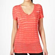 Dark pink burnout striped t-shirt