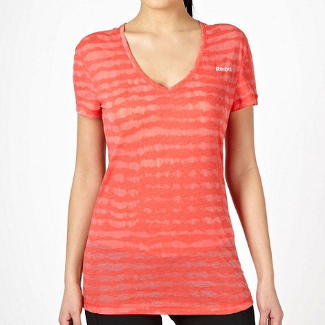 Reebok - Dark pink burnout striped t-shirt