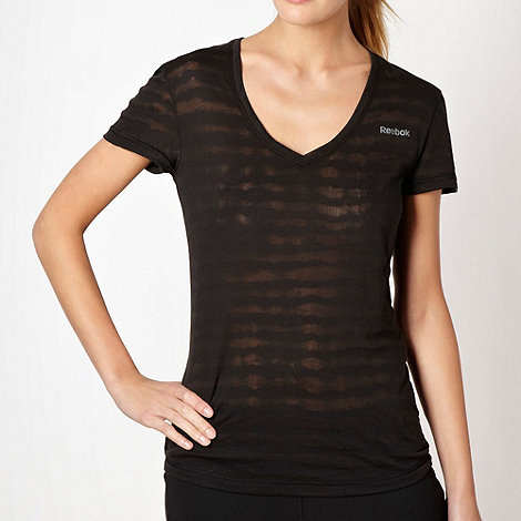 Reebok - Black burnout striped t-shirt