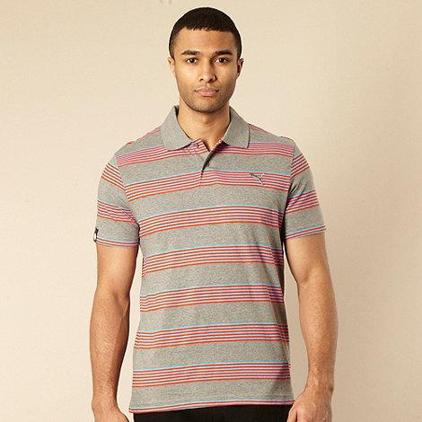 Puma - Grey block striped polo shirt