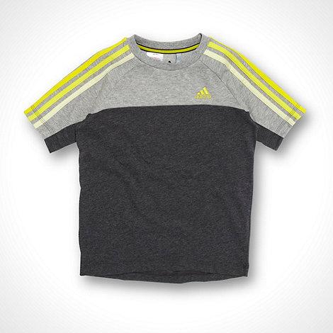 adidas - Children+s grey applique stripe T shirt