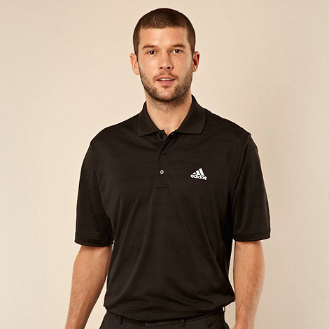 adidas - Black textured striped polo shirt
