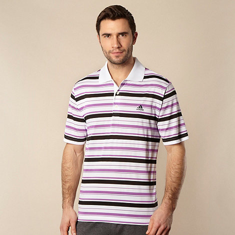 adidas - White +ClimaLite+ striped polo shirt
