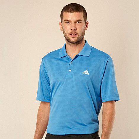 adidas - Blue textured striped polo shirt