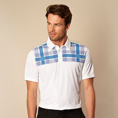 adidas - White checked shoulder polo shirt