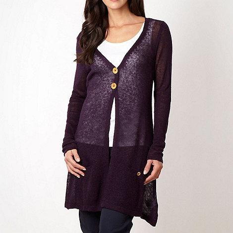 Weird Fish - Dark purple fine knit longline cardigan