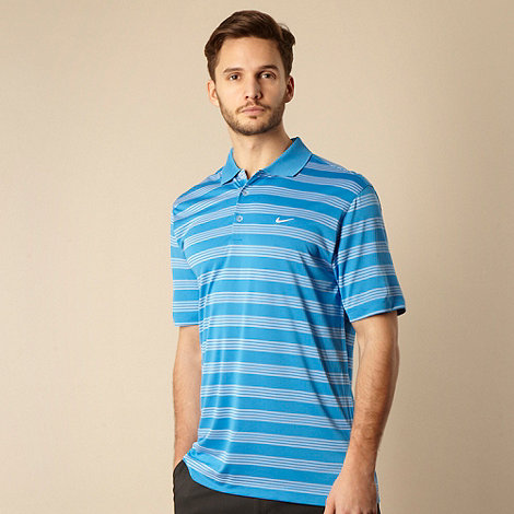 Nike - Blue multi striped polo shirt