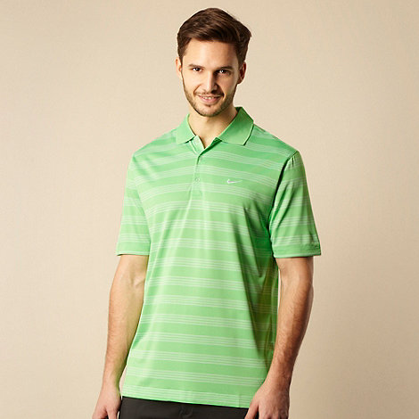 Nike - Green multi striped polo shirt