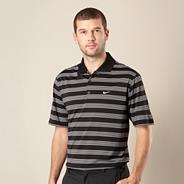Nike black multi striped polo shirt