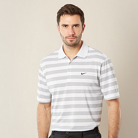 Nike - White multi striped polo shirt