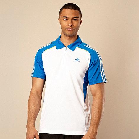 adidas - White zip neck polo shirt