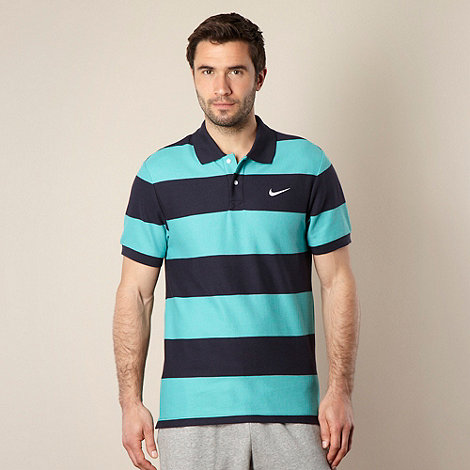 Nike - Turquoise striped pique polo shirt